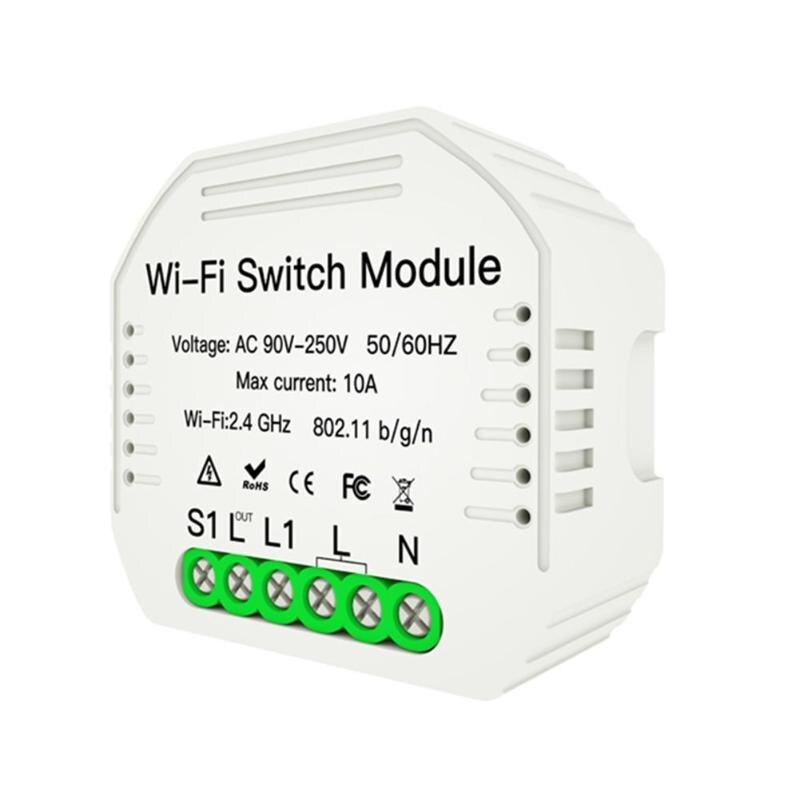 Interruptor de luz inteligente WiFi Módulo de disyuntor DIY compatible con caja de voz