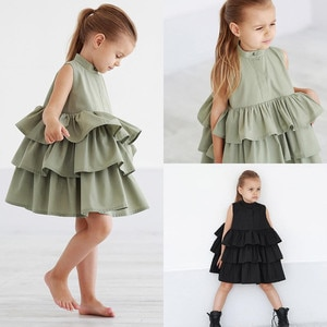 2020 Fashion Christmas TuTu Dress Black Casual Dress For Girls Solid Cake Dress Princess Dress Child Clothing For 2-6 Years Old