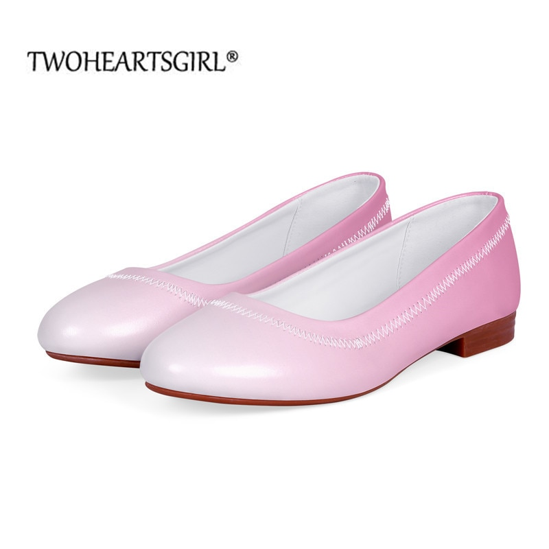Leather Low Heeled Loafers Trendy Color Gradient Design Basic Boat Shoes for Women Wedding Party/Off