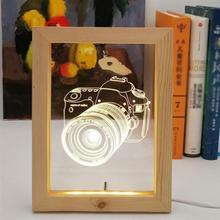 Caméra Image lampe 3D visuel en bois Photo cadre lumière 3W lumière chaude lampe de nuit USB atmosphère veilleuse hêtre ou chêne aléatoire