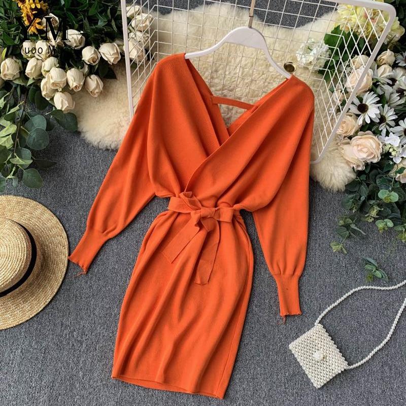 Женское трикотажное платье-свитер YuooMuoo, осенне-зимнее элегантное платье в Корейском стиле с длинным рукавом «летучая мышь» и v-образным выр...