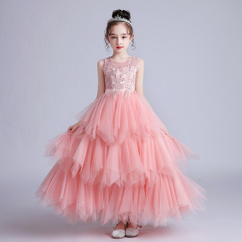 فساتين سهرة جديدة للفتيات في الصيف ، تنانير طويلة ، فساتين الأميرة منتفخة ، الأطفال الكبار ، زفاف الأطفال ، فساتين فتاة الزهور