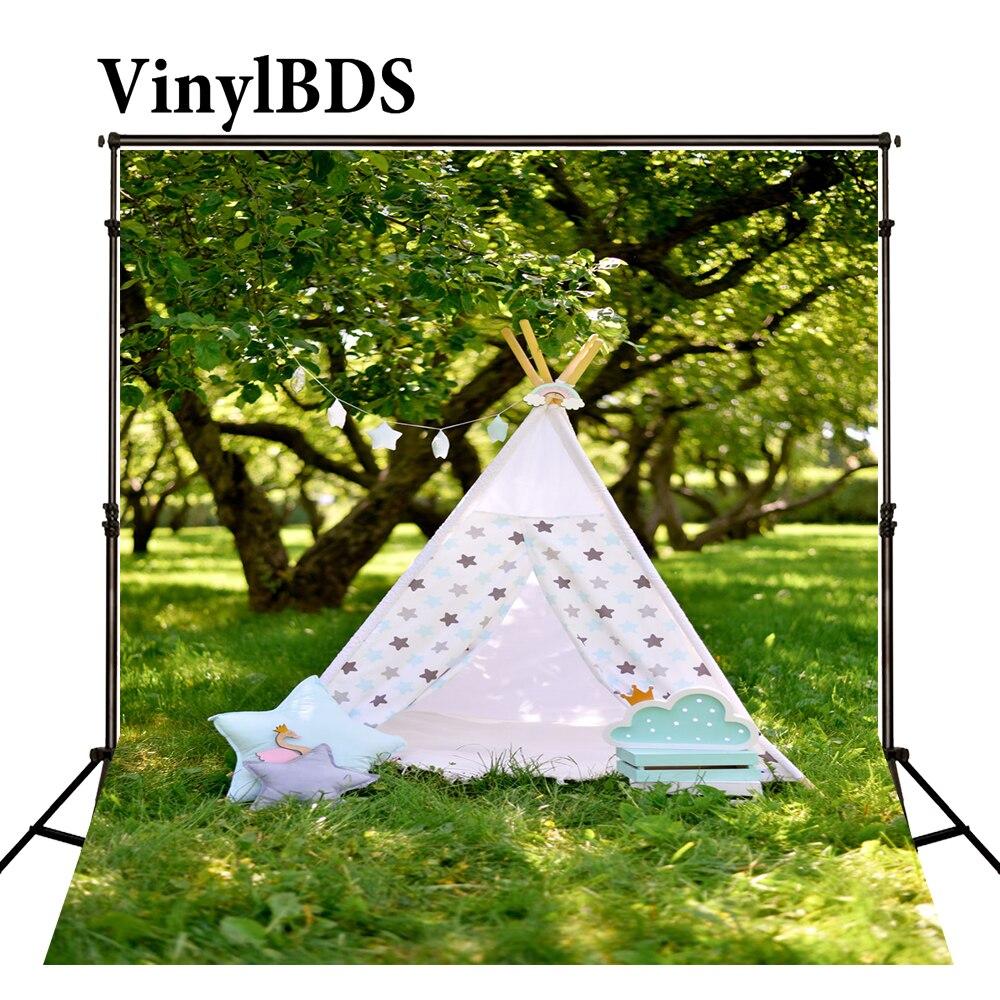 Vinylbds 5x7ft foto pano de fundo naturismo crianças fotos primavera dos desenhos animados tendas backdrops paisagem floresta recém-nascido foto para estúdio