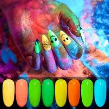 Ongle paillettes néon néon phosphore poudre Pigment poussière ombre lueur dans lart des ongles sombre UV Gel polissage Pigment poussière manucure laque