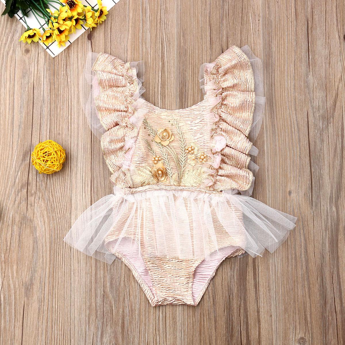 Ropa de bebé recién nacido Pudcoco sin mangas con volantes de tul espiga de trigo mono de una pieza ropa de traje de sol