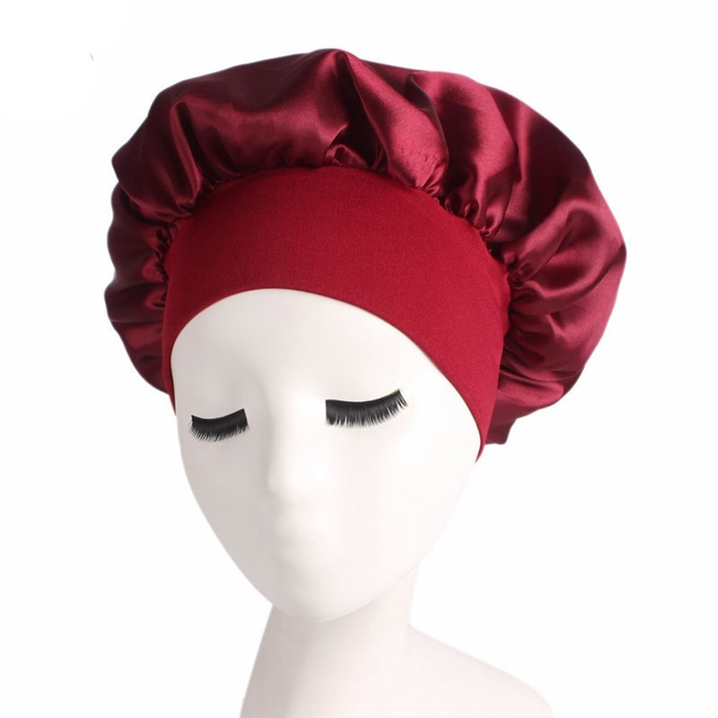 Newly Women's Satin Solid Sleeping Hat Night Sleep Cap Hair Care Bonnet Nightcap For Women Men Unise