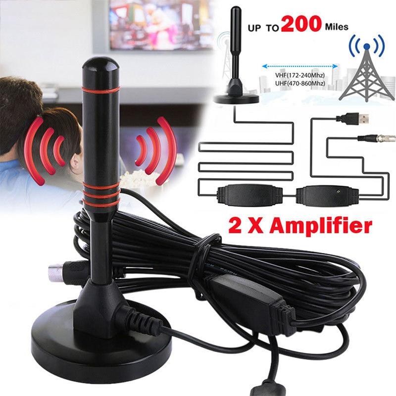Indoor Digital HDTV TV Antenna 25DB Aerial Amplified 200 Miles Range VHF UHF HDTV Antenna TV Signal Receiver HD Signal Amplifier