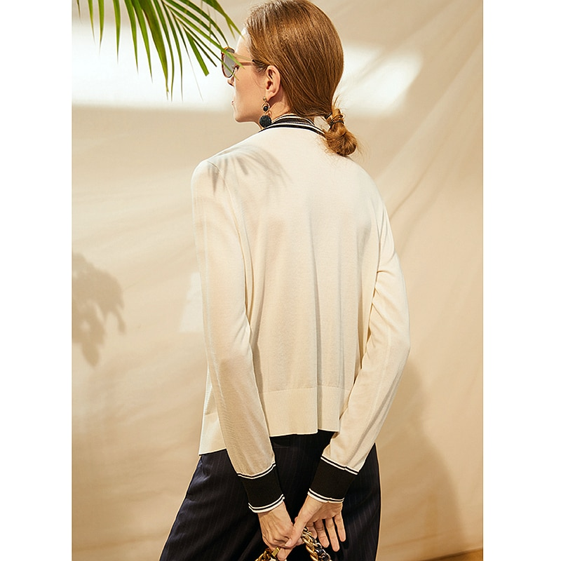 Cardigan Women 49%Tencel Knitted Elegant Design V Neck Long Sleeves Spliced 2 Colors High Quality Casual Style New Fashion enlarge