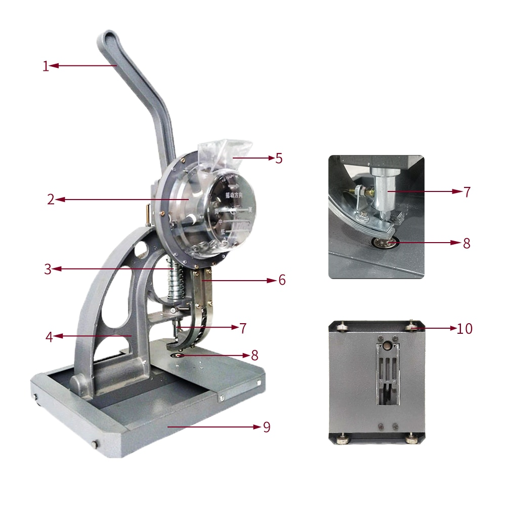Máquina D04-12mm ojales semiautomática + 5 bolsas