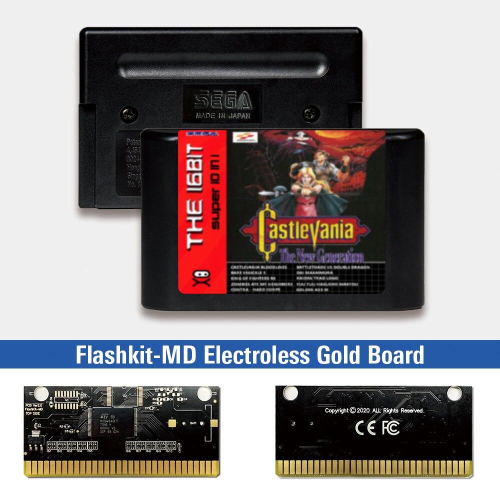 Castlevania-Kit de etiquetas para Sega Genesis Megadrive, tarjeta PCB, oro, sin electrodos,...