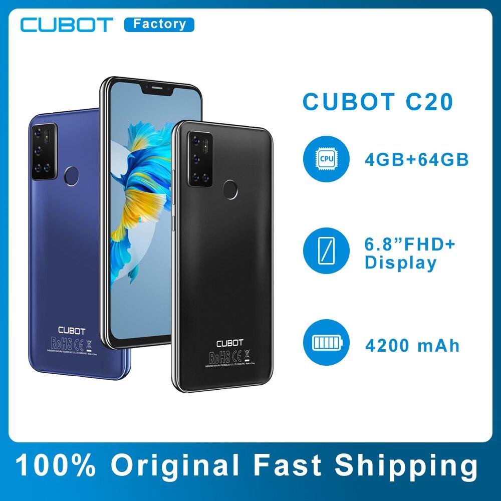 Перейти на Алиэкспресс и купить Оригинальный Cubot C20 4 Гб + 64 Гб NFC Смартфон 6,18 дюймов Восьмиядерный 12MP сзади Камера отпечатков пальцев Face ID разблокировать андроид телефон