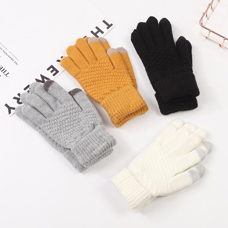 2021 мужские зимние перчатки, плотные теплые трикотажные стрейч-перчатки, сенсорный экран плюс бархат, для улицы, для велоспорта, однотонные п...