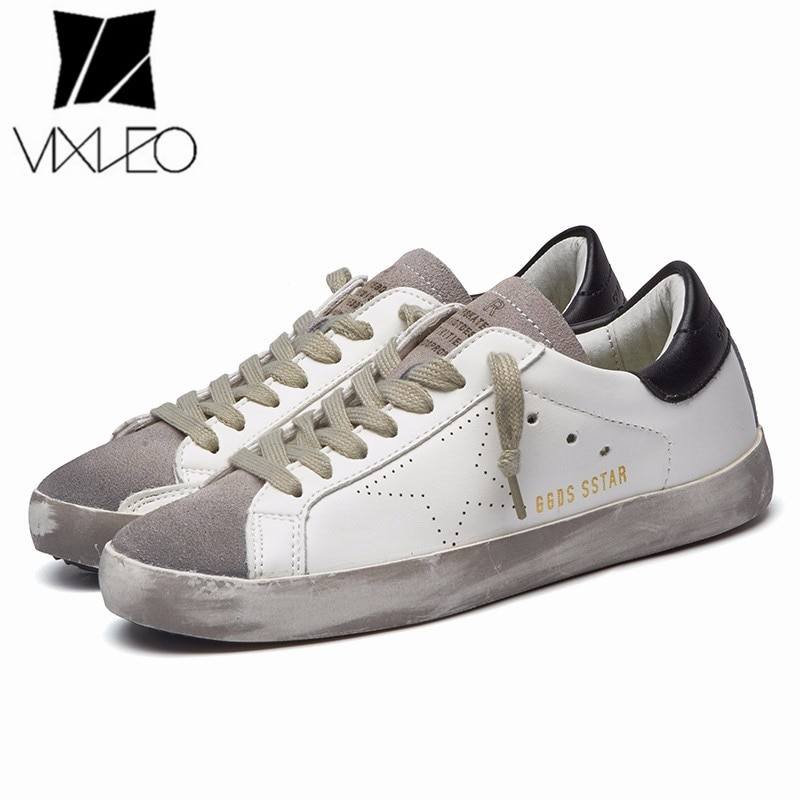 2021 New All-Match Running Unisex Trend Golden Dirty Old Korean Version Stars White Flat ShoesLarge Size 36-44