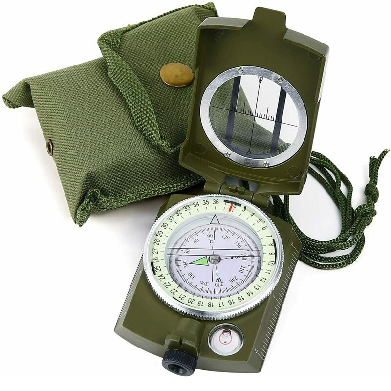 Brújula de supervivencia para acampada, caza militar, luminoso, impermeable, brújula geológica, equipo...