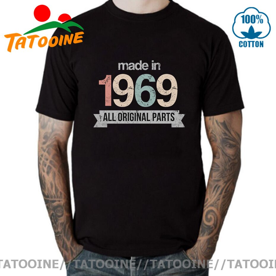 Camiseta de algodón de manga corta hecha en 1969 para hombre, Camisetas...