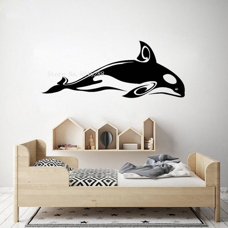 Linda Orca Etiqueta de pared etiqueta de la pared de animales habitación de los niños vinilo arte de pared en vinilo pegatinas tema Animal bonita decoración de hogar cartel LL070