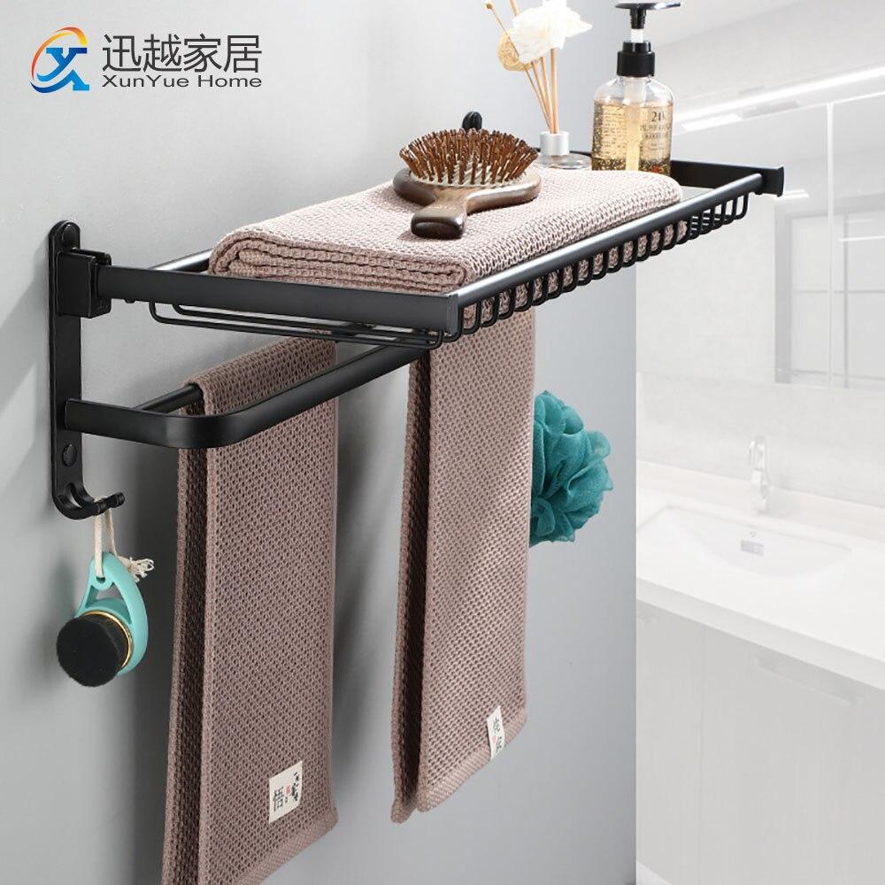 منشفة رف سلة لكمة خالية دش حامل اكسسوارات الحمام للطي جدار المنظم هوك شماعات الأسود الألومنيوم تخزين الرف