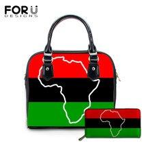 FORUDESIGNS 여성 Hangbags 세트 아프리카 계 미국인 팬 아프리카 UNIA 플래그 인쇄 비치 숄더 가방 디자이너 탑 핸들 가방 여성