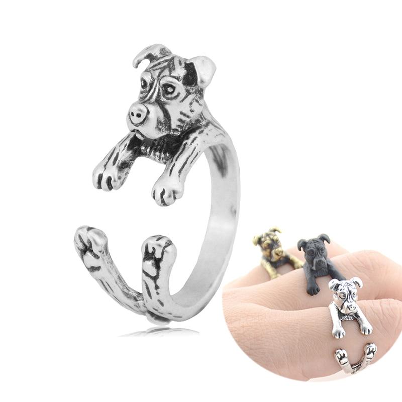 Anillos de animales Retro Pit Bull Terrier para hombres, Boho nudillo de latón para perro, anillo femenino, Anillos de animales para mujeres, niñas, joyería para amantes de las mascotas