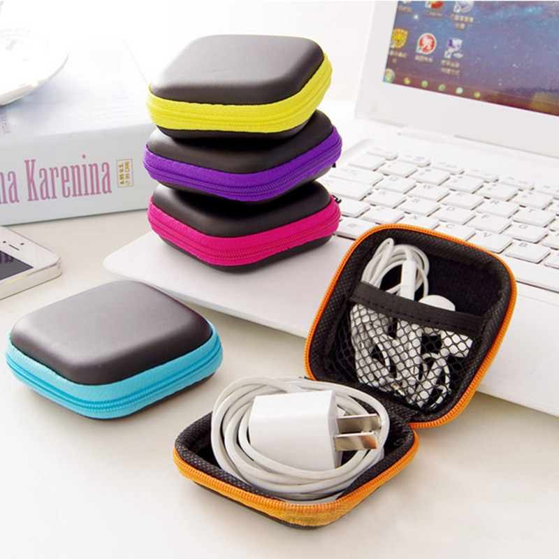 4 Colors Portable Case for Headphones Case Mini Zippered Square Storage Hard Bag Headset Box for Earphone Case SD TF Cards