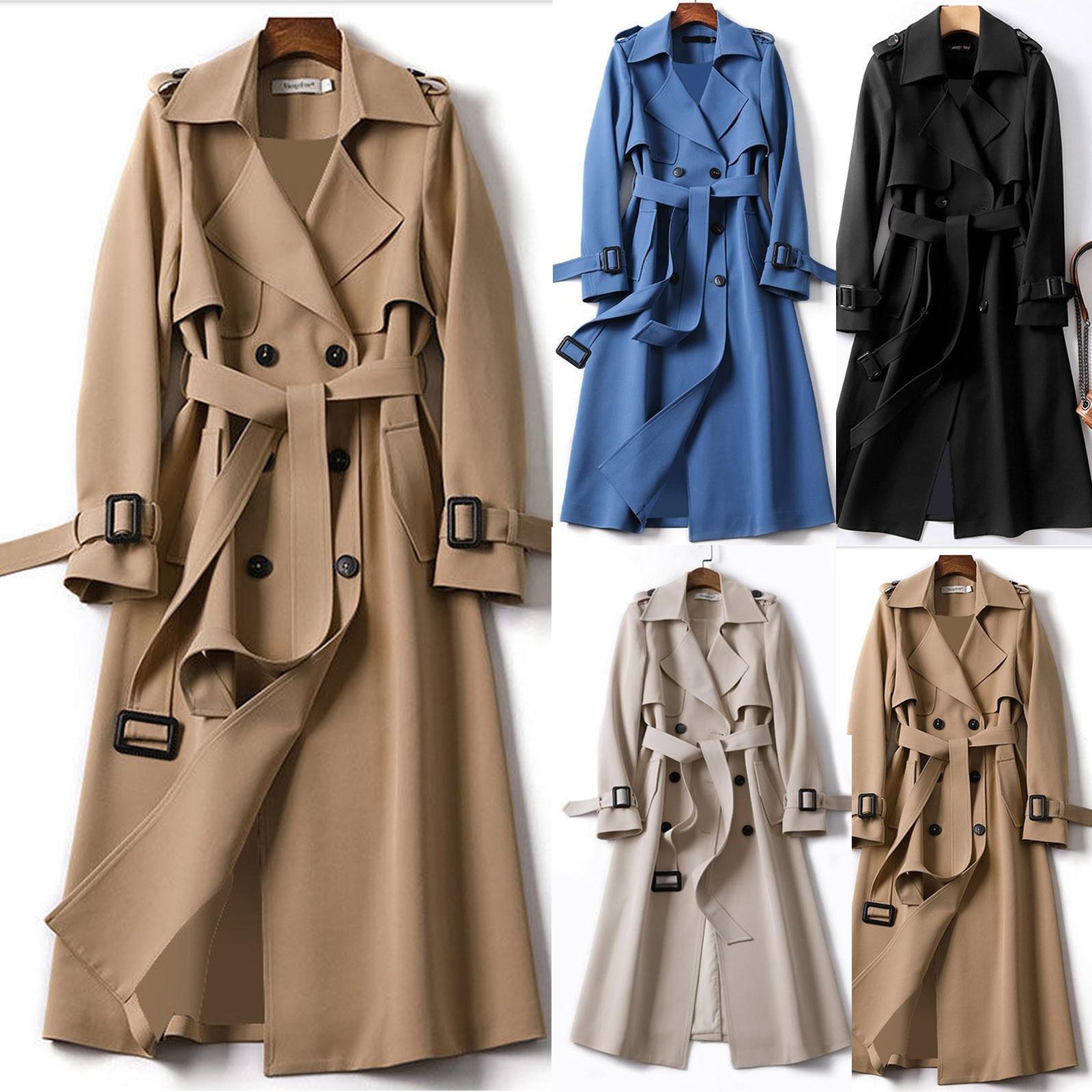 SAGACE Women Overcoat Solid Slim Fit Coat Jacket Long Outerwear Windbreaker Trench Streetwear Women