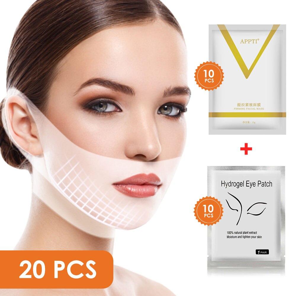 V Kinn Heben Maske + Hydrogel Eye Patch Maske Feuchtigkeit Straffen Haut Entfernen die Dark Kreis Falten für Gesicht Pflege