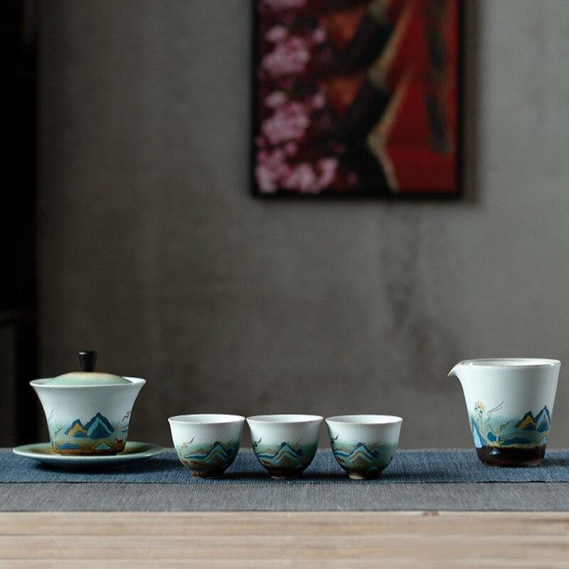 طقم شاي صيني ، وعاء على الطريقة اليابانية ، فرن ، غطاء ساطع ، طقم شاي كونغ فو بورسلين ، طقم شاي Gaiwan