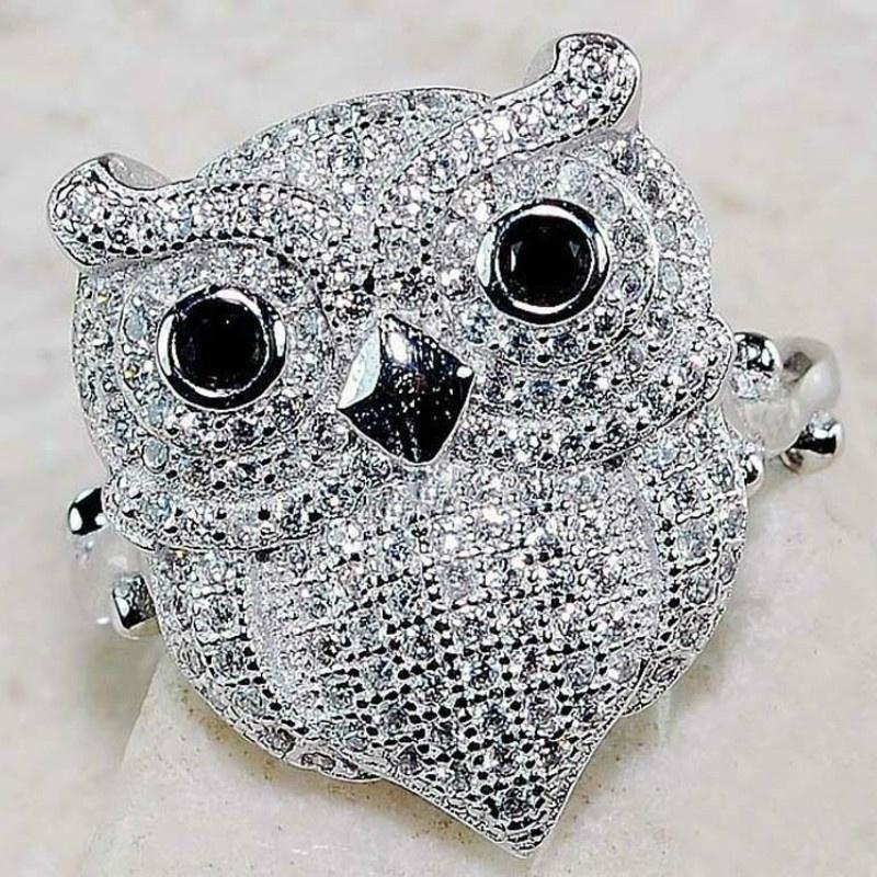 Fdlk coruja bonito anel de dedo feminino preto imitação opala olhos simples animal jóias personalidade festa acessórios cor prata novo