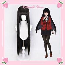 Jabami Yumeko Wig Cosplay Synthetic Hair Heat Resistant Black Hair Straight Long Daily-wear Hallowee