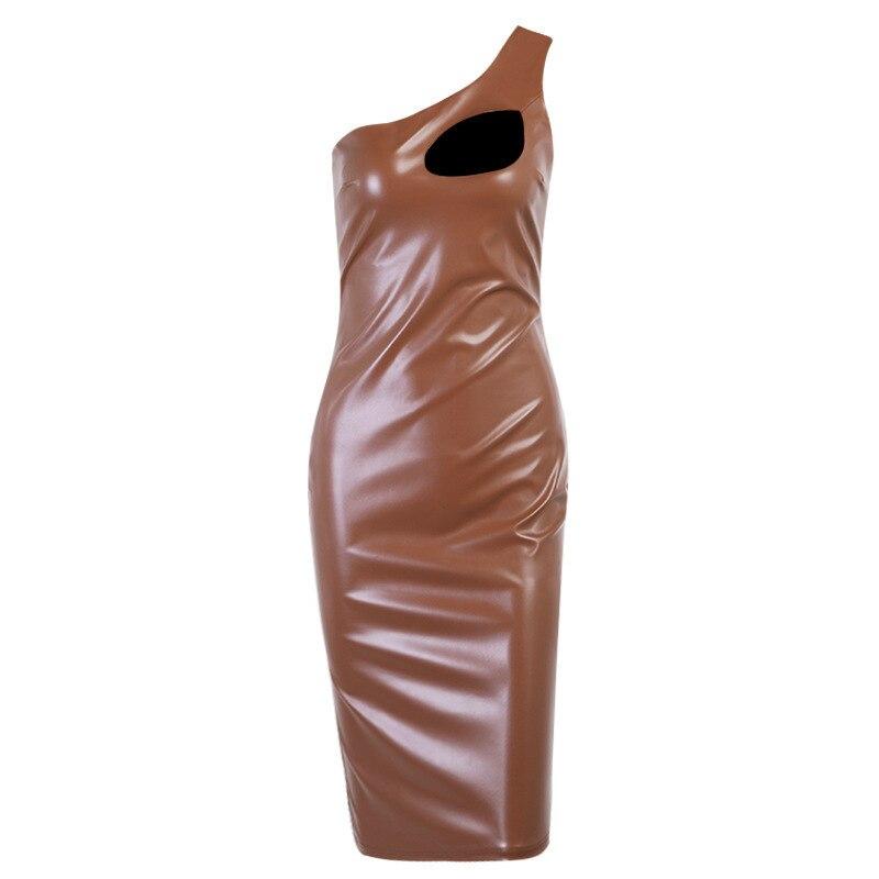 Gothic Dresses for Woman Night Party Elegant Clothes Vestido Feminino Autumn Punk Sexy Pu Leather Bodycon Slit Dress Women 2021