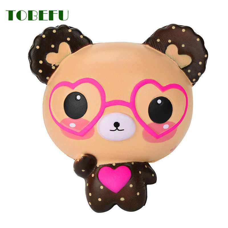 Tobefu stress reliever perfumado squishy bonito óculos urso squishies charme super lento subindo brinquedos de aperto