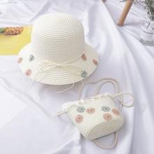 Bolso de playa para niñas y niños, bolso de paja con tapa respirable, sombrero de sol + bolso de hombro, conjunto de bolsos