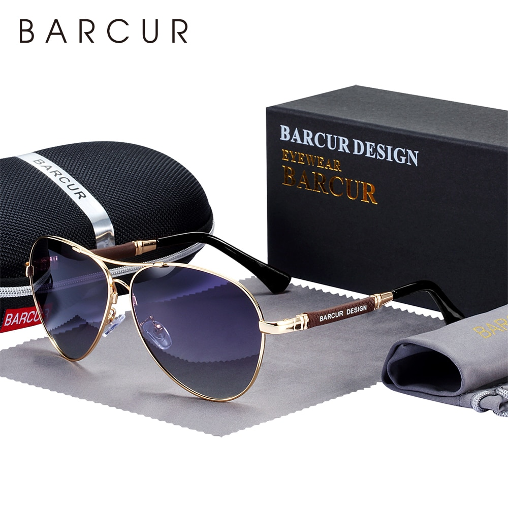 BARCUR Design Titanium Alloy Sunglasses Polarized Men's Sun Glasses Women Pilot Gradient Eyewear Mir