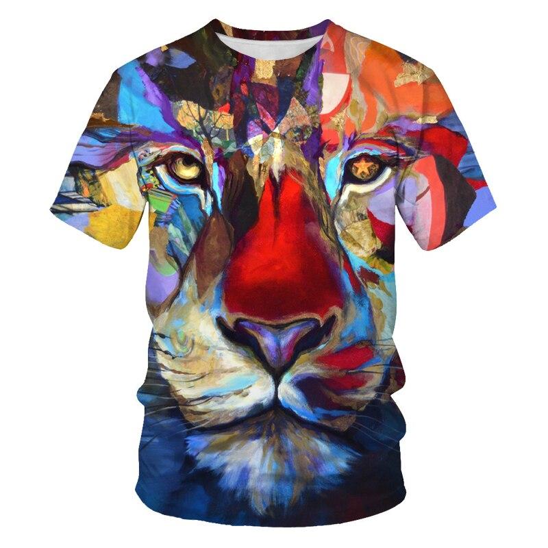 Новая 3D футболка, лето 2021, забавная футболка, футболка с животными, футболка с тиграми, футболка с 3D принтом