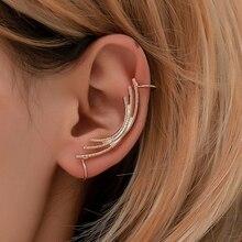 Modyle Hot Fashion Enkele Meisje Oor Manchet Oorbellen 1 Pc Angel Feather Golden Ear Clips Voor Vrouwen Linkeroor Punk sieraden Gift