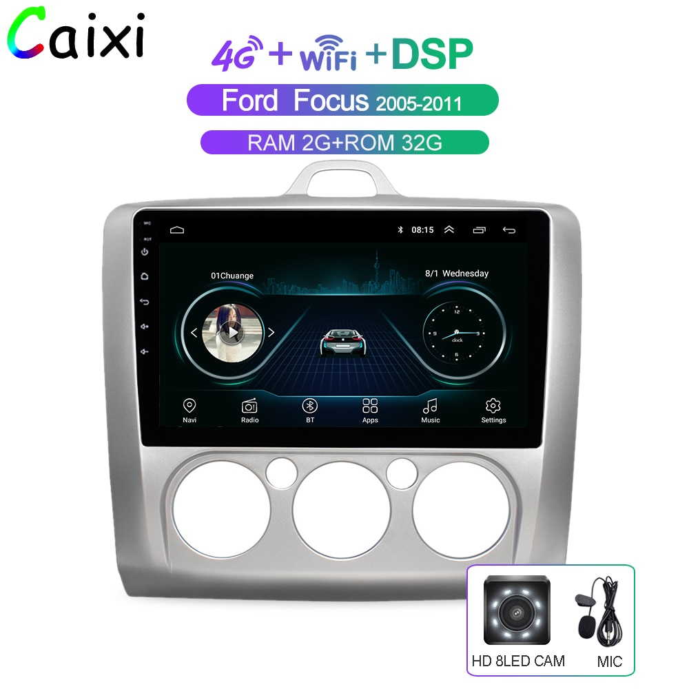 CAIXI coche Android 8,1 reproductor Multimedia para Ford Focus Exi MT en 2 2004, 2005, 2006, 2007, 2008 - 2011 la Radio del coche de navegación GPS