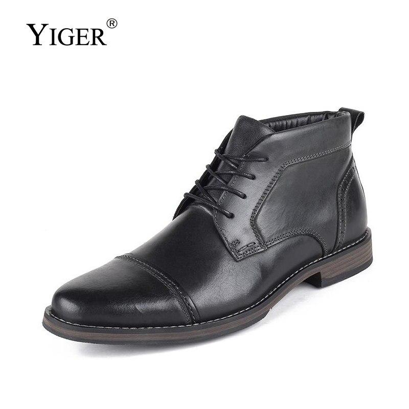 YIGER casuales de los nuevos hombres botas de hombre Botas tipo Martins hechos a mano de cuero genuino de gran tamaño hombre zapatillas de los hombres de invierno cálido bots 251