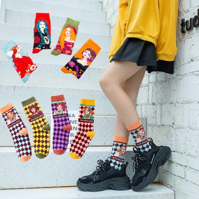 LETSBUY, 1 par, calcetines coloridos de algodón peinado para mujer con pintura al óleo Retro de Van Gogh, vestido de fiesta informales para calcetines divertidos, calcetines de tripulación