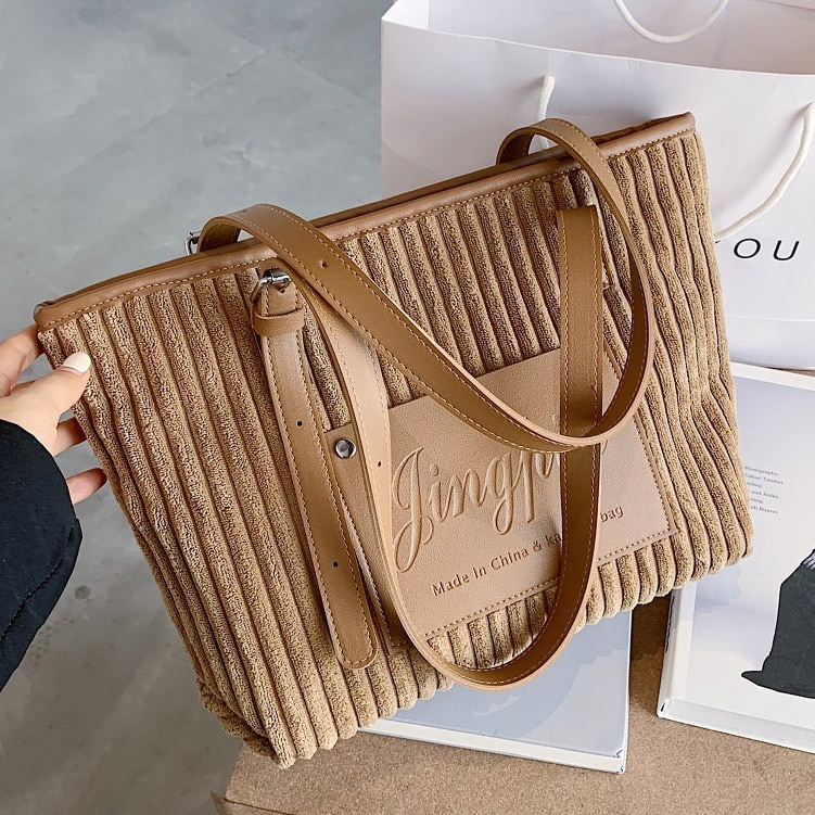 Corduroy Women Handbags large capacity 2020 Winter new female shoulder bag Casual tote Travel bag bolsos mujer Hand Bag black