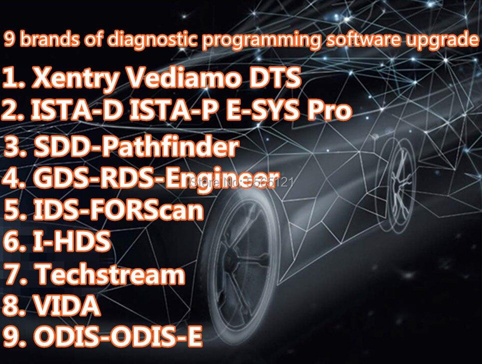9 modelos de marcas ODIS Xentry Vediamo DTS SDD Pathfinder GDS ISTA ESYS VIDA la detección y el diagnóstico de ingeniero de software de programación