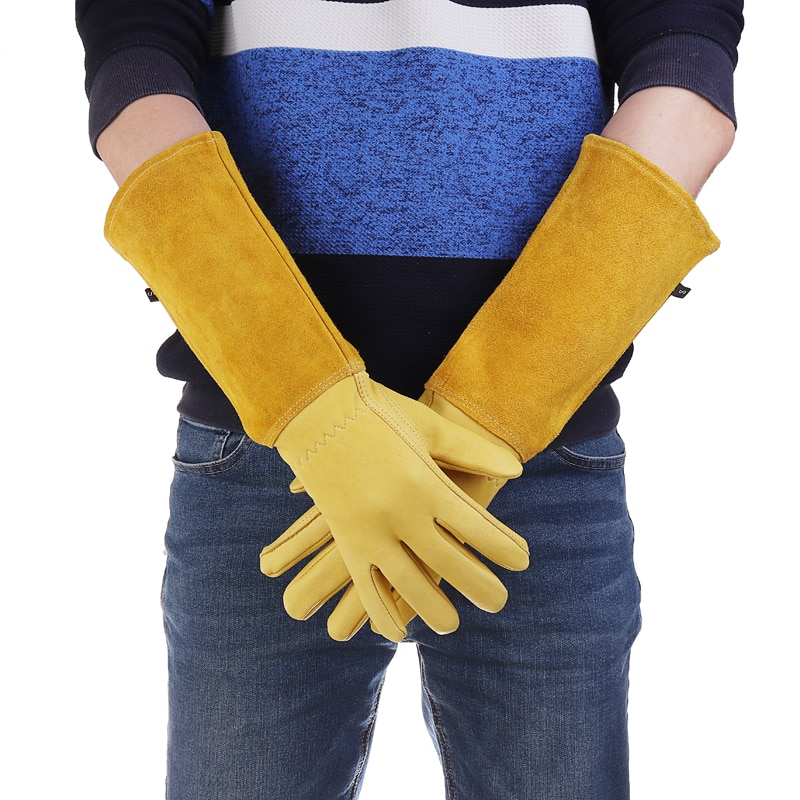 Kaktüs gül budama eldiven deri diken geçirmez uzun kollu bahçe eldiven erkekler ve kadınlar için bahçe aletleri