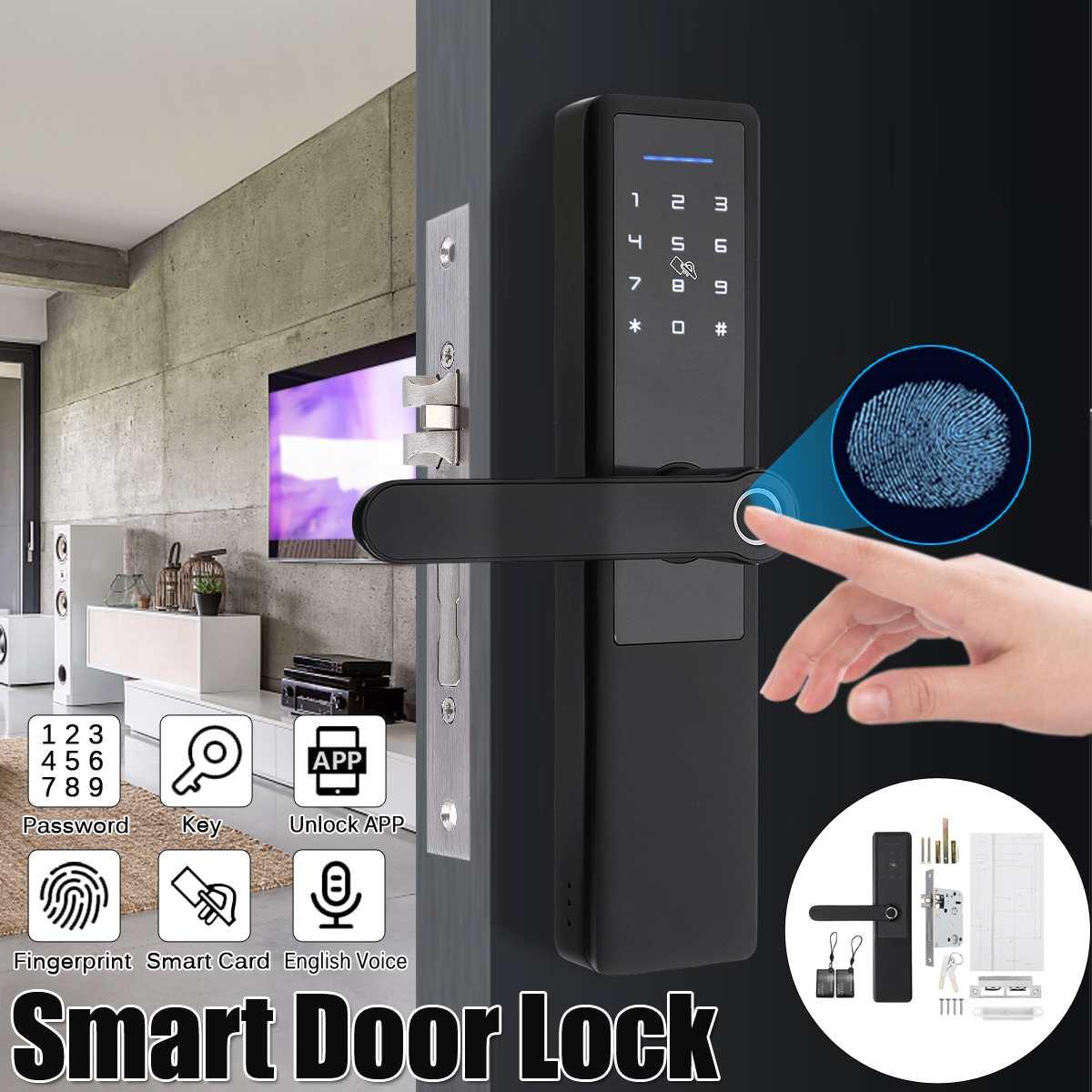 قفل بيومتري كهربائي ، بصمة الإصبع ، قفل باب ذكي رقمي ، لمس رقمي ، كلمة مرور ، مفتاح ، بطاقة وسادة ، بصمة ، 5 طرق