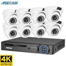 4K Ultra HD 8MP ip камера видеонаблюдения h.265 POE NVR комплект видеорегистратор наружная металлическая белая купольная видеонаблюдение