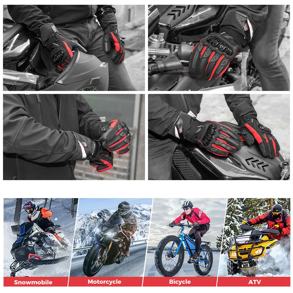 KEMiMOTO NEW 2020 Winter Motorcycle Gloves Protective Touch Screen Waterproof Windproof Warm Gloves Men Women Guantes Moto Luvas enlarge