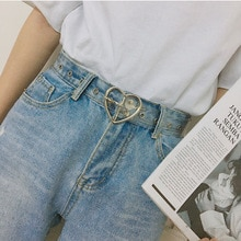 Heart Shape Buckle Belts for Women Transparent Belt Love Heart Jeans Dress Waist Strap Silver Gold P