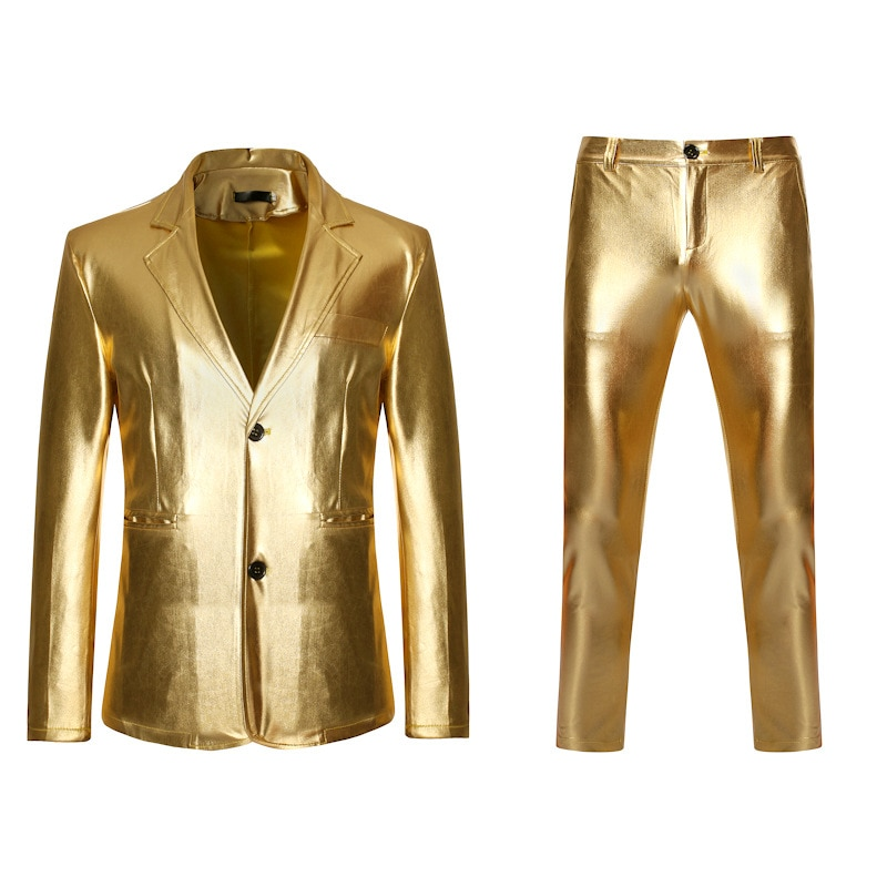Mens Gold Shiny 2 Piece Suit (Jacket+Pants) 2020 Brand Single Breasted Notched Lapel Bronzing Suit Men Stage Prom Costume Homme