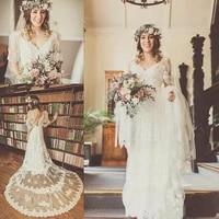boho wedding dresses charming appliques lace short sleeve v neck backless long trail bohemian bridal gowns vestidos de noiva