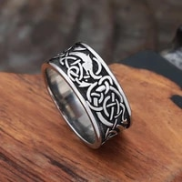 vintage viking ring men women nordic classic celtics knot ring stainless steel biker amulet jewelry gift wholesale size 7 13