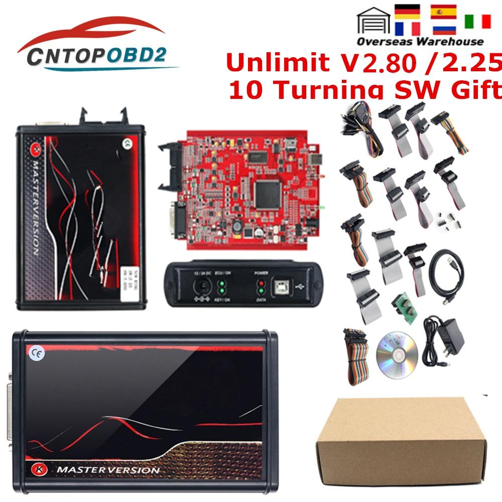 جهاز برمجة رقاقة رئيسية غير محدود KESS V5.017 V2.80 EU Red Kess KTAG V7.020 V2.25 جهاز برمجة ECM من التيتانيوم بإطار BDM مزود بإضاءة LED
