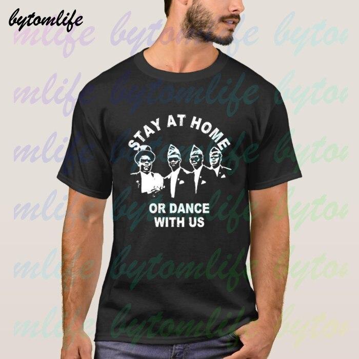 2020 Coffin Dance Guys Dance With Us Funeral забавная черная футболка Летняя мужская женская 100% хлопковая футболка с короткими рукавами унисекс